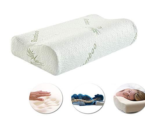 Cuscino cervicale litotree – cuscino modellato in memory foam, supporto per spalle e testa, cuscino rilassante sagomato per dolori al collo e per chi dorme sul lato, bianco,