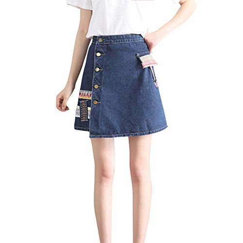 HCFKJ Faldas Mujer Cortas Falda De Cintura De La Moda De Las Mujeres Estilo Coreano NiñAs Vaquero Mini Denim Falda Corta