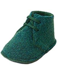 ABA - Polacchino in lana e inserti in lamé, con lacci, scarpina neonata