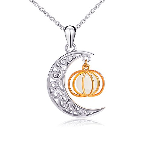 ng Silber Crescent Moon Luminous Perlen niedlichen Kürbis Anhänger Halskette für Frauen Mädchen ()