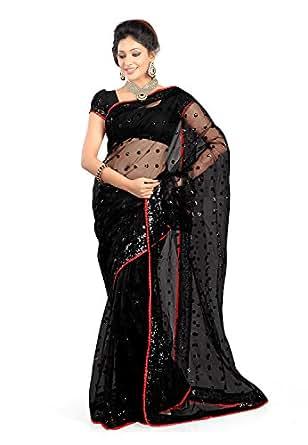 Bikaw Women's Net Saree With Blouse Piece (26_Bikaw_Black)