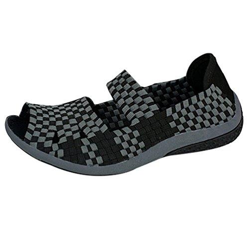 Anguang Donna Casuale Leggero Intrecciata Scarpe Traspirante Confortevole Sandali Spiaggia Pantofole Casuale Scarpe Nero