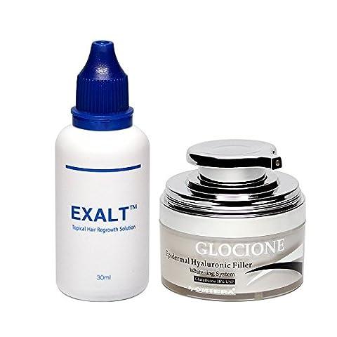 Omiera Exalt Hair Growth Serum And Glocione Anti-Wrinkle Cream Set, 2 Pieces