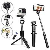 Palo Selfie Trípode para Teléfono Móvil y Gopro, PEYOU [5 en 1] Portátil Palo Selfie con Control Remoto + Tornillo estándar de 1/4 + GoPro Adaptador + bolsa de transporte para iPhone X / 8 / 8 / 7 / 7plus / 6S, para Android Samsung Galaxy S8 / S8 Plus / S7 / s7edge, para Huawei, para HTC, para Lenovo, para LG, para Motorola,para Nokia, cámaras digitales, para GoPro Hero 3/4/5 (Negro)