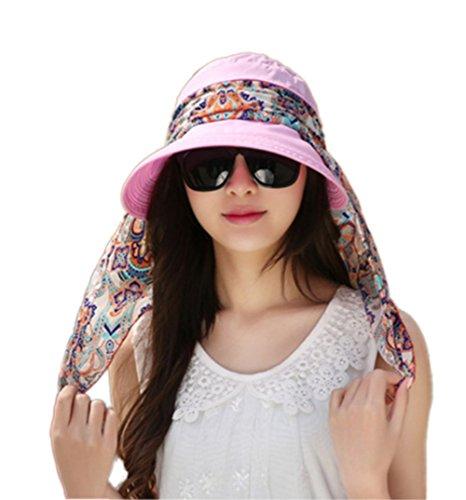 Leisial Été Femme Casquette à Visière Anti-soleil Respirant Anti UV Pliable Détachable Zippé Multi-usages Chapeau Rose