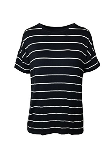 Marks and Spencer Marks & Spencer M&S Relaxed FIT Nautical Navy & White Striped T-Shirt TOP TEE