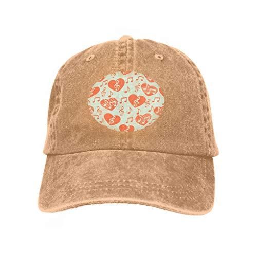 Men's Baseball Caps Fashion Adjustable Sandwich Cap Love Music Musical Abstract Sand Color Heart Treble Clef Notes desi Sand Color