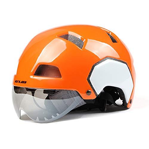 LMJ Cycle Bike Helm mit Abnehmbarer Magnetbrille Visier Shield für Damen Herren, Radfahren Mountain & Road Fahrradhelme,Orange,L~56~61CM