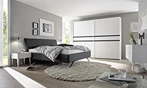 Matelpro-Chambre adulte design blanc mat/gris foncé Bizance II-180 x 200 cm