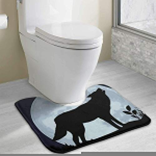 Zengyan Customized Wolf Under The Moonlight Bathroom Toilet Carpet Mat, Fashion Anti-Skid Mat Bath Mat (Teak Handtuch-halter)