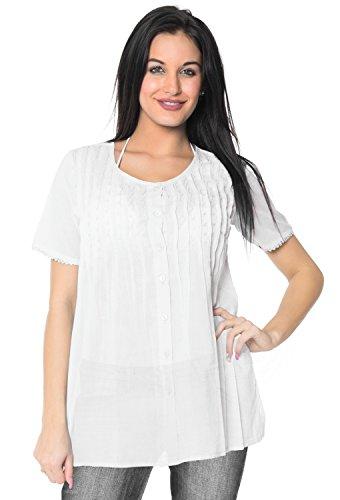 La Leela Beach Cover ups Dresses Swimsuit Blouse Caftan Bikini Bathing Resortwear Gifts Kaftan Tops Tunic for Women's 100% Cotton Embroidered Plus Size Straight White Short Sleeves Shirt XL