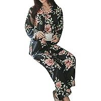 طقم ملابس نوم نسائي ناعم طويل الأكمام مطبوع عليه زهور من DressU Pattern1 US Medium