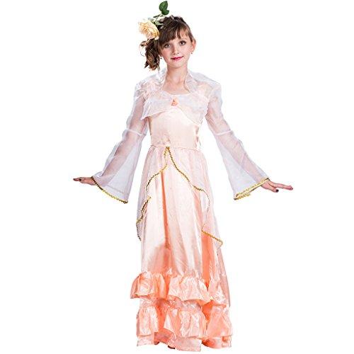 EraSpooky Mädchen am ärmel Märchen - Prinzessin Party Kostüm(Orange, Large)