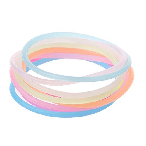 LLLucky 10Pcs Luminous Wristband Night Gummy Silikon Wristlet DIY Gummi elastische Armbänder