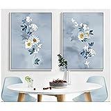 chaoaihekele Nordic Blumen-2 Stücke Dekorative Gemälde-Wand Kunstdruck Bild-Leinwand Malerei Poster für Wohnzimmer 60x80 cm x 2 (kein Rahmen)