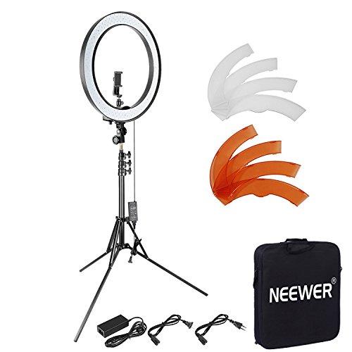 Neewer Verbesserte 18-Zoll-SMD LED-Außenring mit faltbarem 79 Zoll Stativ, drehbarer Handyhalter, Filter und Bluetooth-Empfängerset für Make-up-Portrait Youtube Videoaufnahmen (EU/US-Stecker)