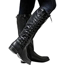 f8cad8e4066307 Damen Stiefel Overknees mit Blockabsatz Frauen Kunstleder Flache Stiefel  mit Reißverschluss Mode Runde Zehe-Stiefel