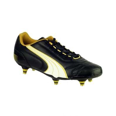 Puma Kratero - Chaussures de football à crampons vissés - Garçon (28 EUR) (Noir/Blanc/Jaune)