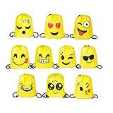 FUNNY HOUSE Emoji Bolsas de Cuerdas,10 Pcs Emoji Mochilas Petates Infantiles para Niños Bolsas de Fiesta de Cumpleaños Bolsa de Regalo Artículos