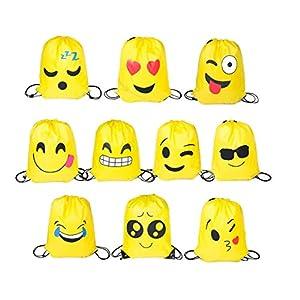 41ze4m2cEjL. SS300  - FUNNY HOUSE Emoji Bolsas de Cuerdas,10 Pcs Emoji Mochilas Petates Infantiles para Niños Bolsas de Fiesta de Cumpleaños Bolsa de Regalo Artículos