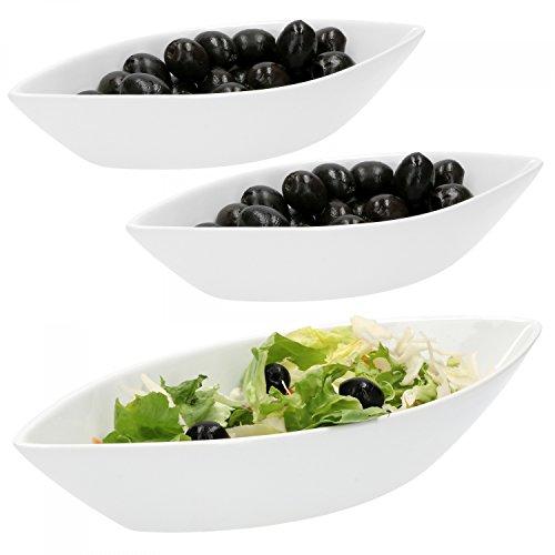 Van Well 3-tlg. Schiffchen-Set Büfett | 1 x 650 ml + 2 x 180 ml | Oliven-Schiff | längliche Salat-Schalen | edles Marken-Porzellan | weiß | Gastro