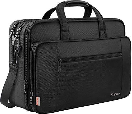 Mancro 17 Zoll Laptop Tasche, Business Aktentasche große Umhängetasche Wasser Resisatant Multi-funktionale erweiterbare Computer Schultertaschen MEHRWEG -