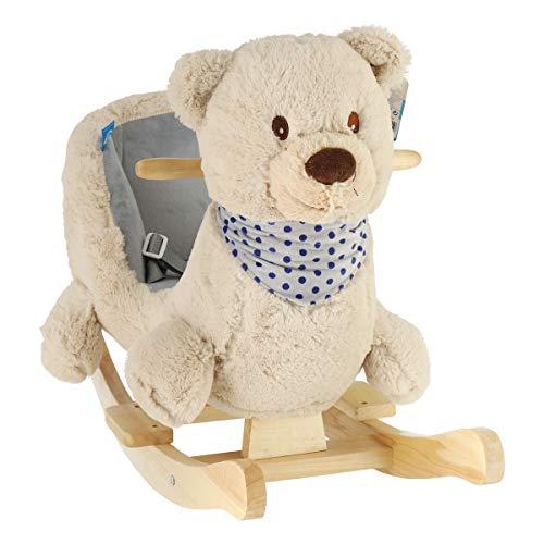Bieco 74002111 - Plüsch Schaukeltier Bär creme, Kinder Schaukelstuhl mit Holzgestell, Sicherheitsgurt und Rückenlehne, Schaukel Plüschtier, Schaukelbär für Babys und Kleinkinder ab 9m+