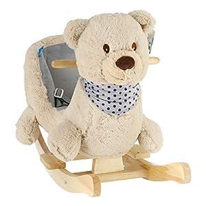 BIECO 74002111 - Balancín de Peluche para niños (Estructura de Madera, cinturón de Seguridad y Respaldo, a Partir de 9 Meses), diseño de Oso, Color Crema