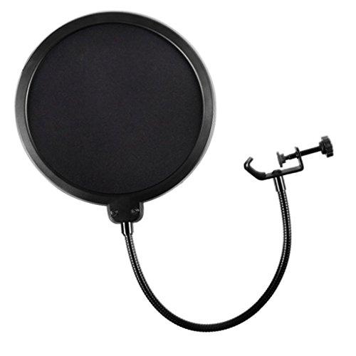 Runde Doppelschicht Mikrofon Popschutz Absorber Filter Wind pop Filter mit Stand Clip - Schwarz
