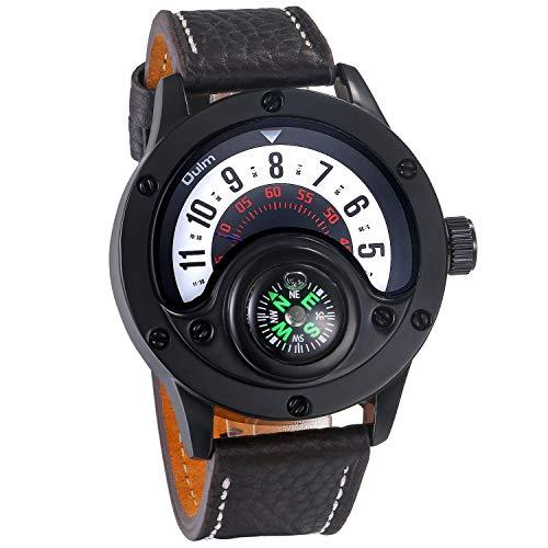 Analog Quarz Kompass 30M wasserdichte Armbanduhr Schwarz Leder Armband Männer Einzigartige Sport Uhr mit Rundem Digital Zifferblatt Rot ()