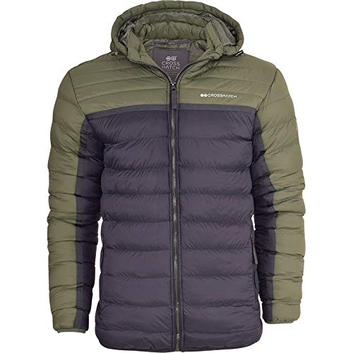 ffcc41a97b7 Crosshatch Mens Quilted Padded Hooded Puffer Jacket Winter Insulated Bubble  Coat with StayWarm Technology Large Thyme