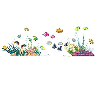 AWAKINK Under the Sea Decals The Deep Blue Sea Fishes Decorative Peel Vinyl Wall Stickers Wall Decals Removable Decors for Bedrooms Kids Rooms Baby Nursery Boys and Girls Bedroom