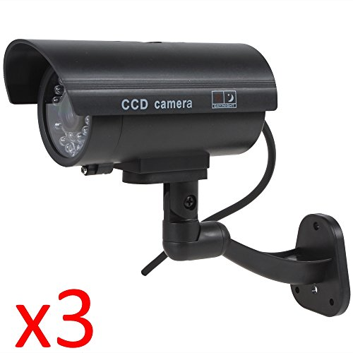 Kabalo 3 x Realistica falsa Telecamera Dummy sicurezza Sorveglianza CCTV LED rosso lampeggiante Indoor Nero [3 x Realistic Fake Dummy CCTV Security Camera Flashing Red LED Indoor Outdoor Black]