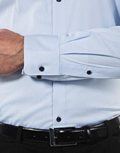 Vincenzo Boretti Herren-Hemd Body-Fit (Besonders Slim-Fit Tailliert) Uni-Farben Bügelleicht - Männer Lang-Arm Hemden für Anzug mit Krawatte Business Hochzeit Freizeit eisblau/dunkelblau