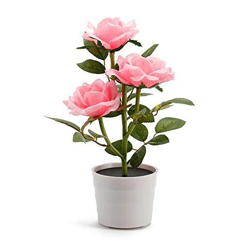 Solar Blumentopf LED Licht - Rose Flower Tischlampe mit 3 LED Blumen - Garten Outdoor Rasen Pflanzen Home Schlafzimmer Dekorative Nachttisch Bonsai Lichter(Rosa)