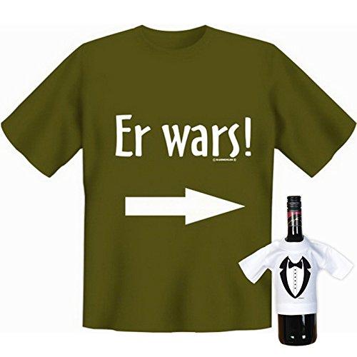 Originelles Funshirt! T-Shirt Set - Er wars! Plus einem gratis Gentleman Minishirt! Khaki