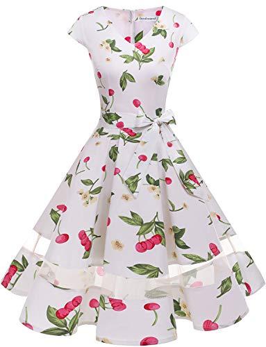 Gardenwed 1950er Vintage Retro Cocktailkleid Cap Sleeves Rockabilly Kleider Damen Schwingen Petticoat Faltenrock White Small Cherry ()