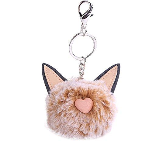 OSYARD Schlüsselanhänger,Keychain,8 cm Nette Katze Ohren Keyring Damen Autoschlüssel Rucksäcke Taschen Anhänger Zubehör Frauen Schlüsselringe Pompoms Schlüssel Ring Handtaschenanhänger
