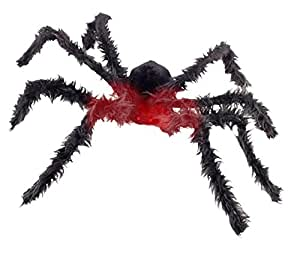 Riesen Monster Spinne über 1 Meter groß mit biegbaren Beinen und rot glühenden Augen - Batterien mit im Set - Halloween Tierhorror Deluxe Dekoration perfekt für Spinnweben und Spinnennetze im XL Format