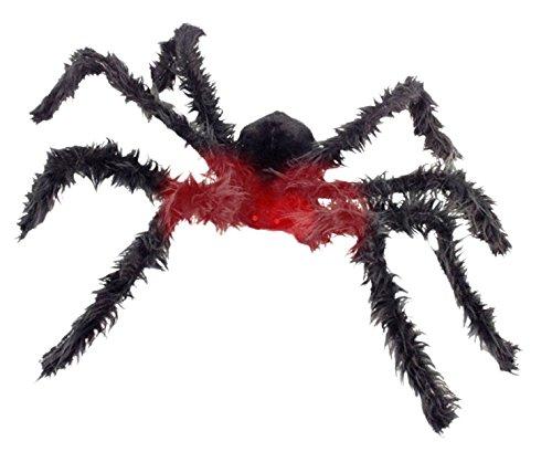 Halloween Riesen Spinnen (Riesen Monster Spinne über 1 Meter groß mit biegbaren Beinen und rot glühenden Augen - Batterien mit im Set - Halloween Tierhorror Deluxe Dekoration perfekt für Spinnweben und Spinnennetze im)