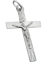 Religious jewelry pendants necklace pendants cross with Jesus from 925 silver 34x21mm