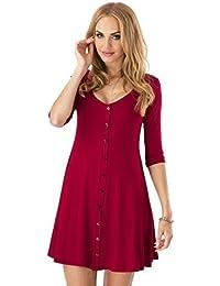 elomoda Mini-Kleid weit geschnitten Kleid mit Knopfleiste Top 5 Farben Gr. 36 38 40 42 44 46, 8995