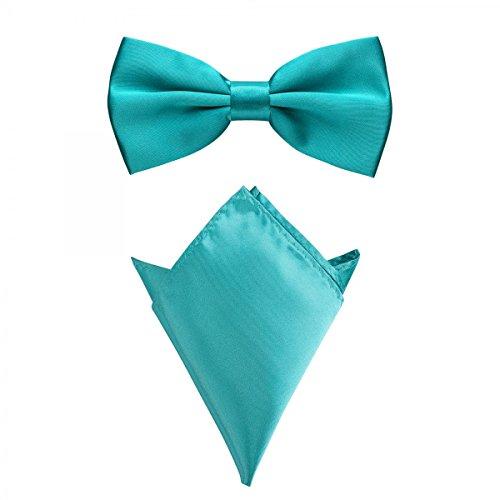 Rusty Bob - Fliege mit Einstecktuch in verschiedenen Farben (bis 48 cm Halsumfang) - zur Konfirmation, zum Anzug, zum Smoking - im 2er-Set - Coral / Koralle / Türkis