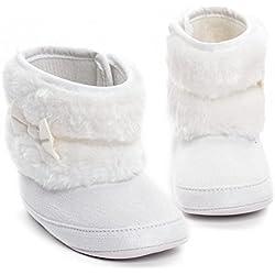 Stivali per bambini ai primi passi, a metà polpaccio con suola morbida antiscivolo, per stare al caldo in inverno, stivali da neve prima infanzia bianco White 6-9months(12cm)