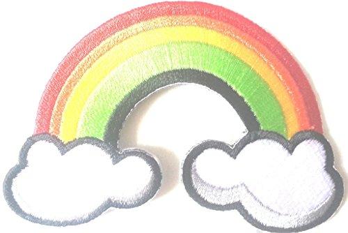 Bügel Iron on Regenbogen Patch Aufnäher Applikation Sticker-ei groß Jeans-Jacke-n Regenbogen gestickt bestickt 8,5 cm