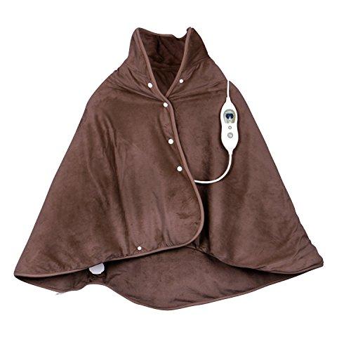 VIDABELLE 12367 Wärme-Cape, Heizdecke zum rüberlegen für Rücken, Nacken und Schulter, inklusiv Abschaltautomatik und maschinenwaschbar, braun