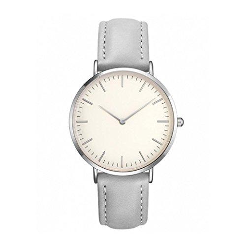 Uhrenarmband Damen Uhren Armbanduhr PU Leder Edelstahl Männer Armbanduhr Armband Herren Uhren Überwachung Watch Stahl Analoge Quarz Armbanduhr Uhr Uhrenarmband Uhren Armbanduhren LMMVP (Grau)