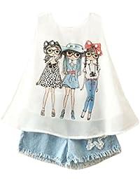 SMARTLADY 2~7 Años Niña Conjuntos de Ropa Chaleco y Pantalones cortos