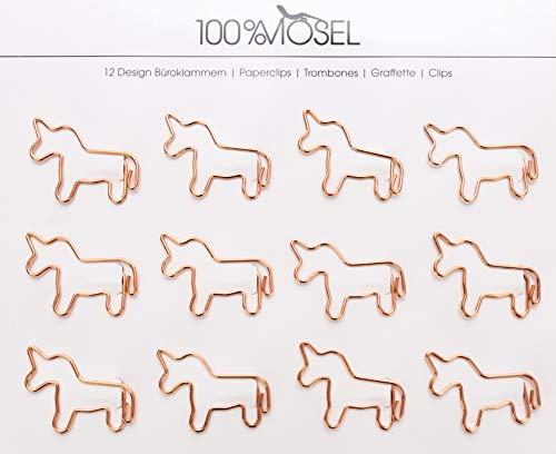 Büroklammern Roségold | 12 Stück | Metall Briefklammern | Motiv Papierklammern | Paper Clips | Als Deko, Lesezeichen oder Mitbringsel (Einhorn 3,8 x 2,8 cm)