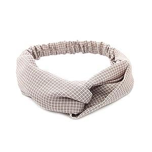 JSEA Damen Tuch Gitter Criss Kreuz Haarband verknotet dehnbar Stirnband Haarschmuck Damen Mädchen